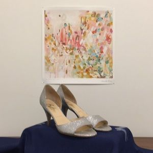 Butter Shoes sparkling silver d'Orsay heels